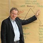Hans-Georg Huber erklärt die Dynamik anhand eines Schaubildes