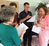 Teilnehmer der Coach und Prozessbegleiter Ausbildung beim praktischen Ausprobieren